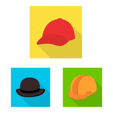 Vector design of fashion and profession. Collection of fashion and cap stock symbol for web. Vectores