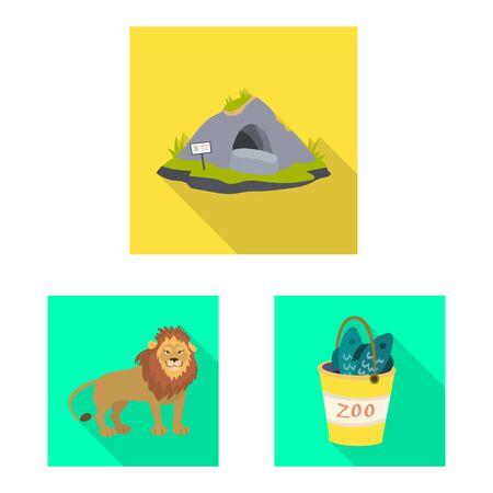 Vector design of safari and animal logo. Collection of safari and fun stock symbol for web.