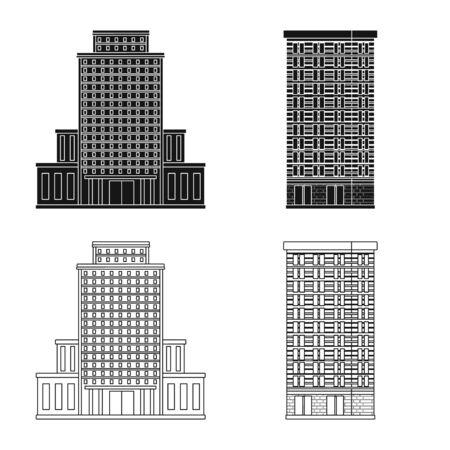 Vektordesign des städtischen und zentralen Symbols. Satz von Kommunal- und Immobilienvektorsymbolen für Aktien.