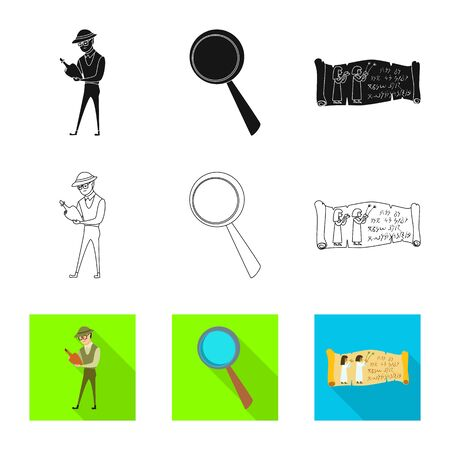 Vector design of story and items sign. Set of story and attributes stock symbol for web. Standard-Bild - 129039404