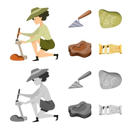 Vector design of story and items. Set of story and attributes stock vector illustration. Standard-Bild - 129110931