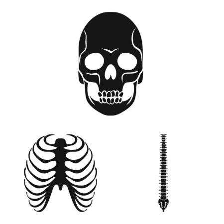Isolated object of biology and medical sign. Collection of biology and skeleton stock vector illustration.