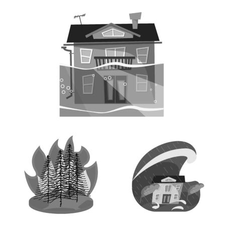 Vector illustration of nature and apocalypse icon. Set of nature and environment vector icon for stock. Çizim