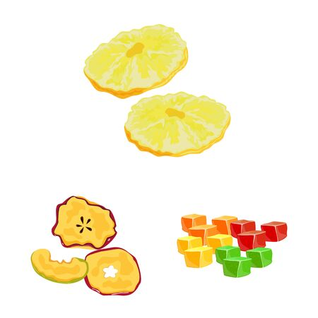 Vector illustration of fruit and dried icon. Collection of fruit and food stock vector illustration. Иллюстрация