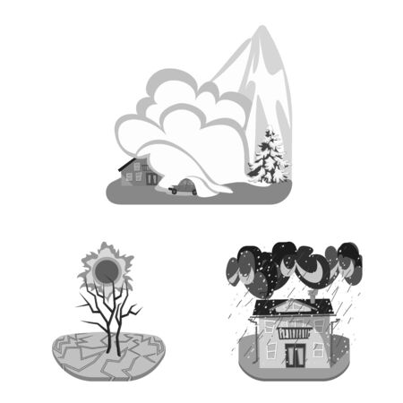 Vector design of nature and apocalypse symbol. Set of nature and environment stock vector illustration.