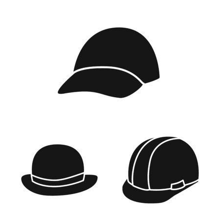 Vector illustration of beanie and beret . Set of beanie and napper vector icon for stock.