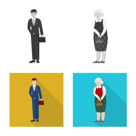 Vector design of character and avatar sign. Collection of character and portrait stock symbol for web.