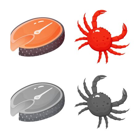 Isolated object of fresh and restaurant . Collection of fresh and marine stock symbol for web.