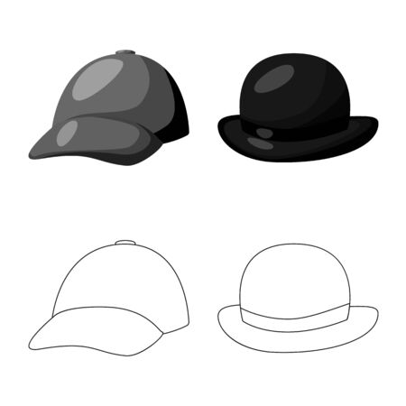 Vector design of clothing and cap icon. Set of clothing and beret vector icon for stock.