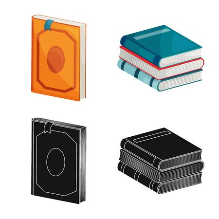 Vector design of training and cover icon. Collection of training and bookstore stock symbol for web. Illusztráció