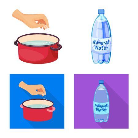 Vector illustration of cooking and sea sign. Collection of cooking and baking vector icon for stock. Ilustração