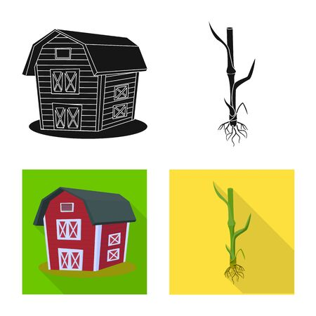 Isolated object of agriculture and farming symbol. Set of agriculture and plant stock symbol for web.