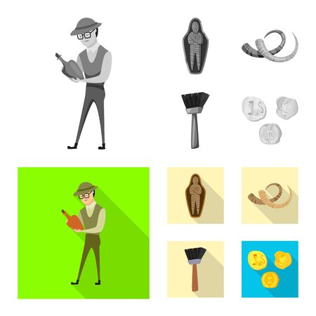 Isolated object of story and items icon. Set of story and attributes stock symbol for web. Illusztráció