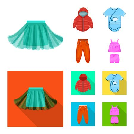 Vector design of fashion and garment symbol. Collection of fashion and cotton stock vector illustration.