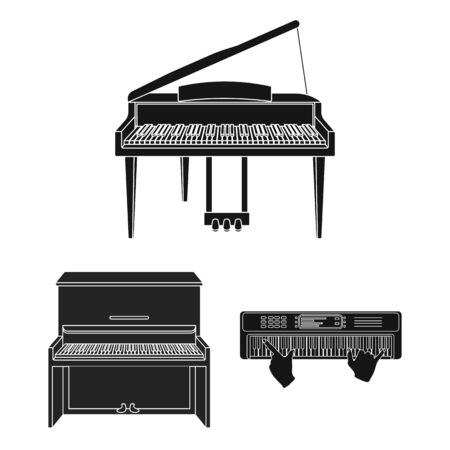 bitmap design of music and piano symbol. Collection of music and song bitmap icon for stock.