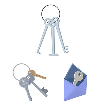 Isolated object of key and protection sign. Set of key and security bitmap icon for stock.