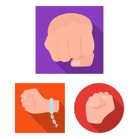 bitmap design of fist and punch sign. Collection of fist and hand stock symbol for web. Imagens