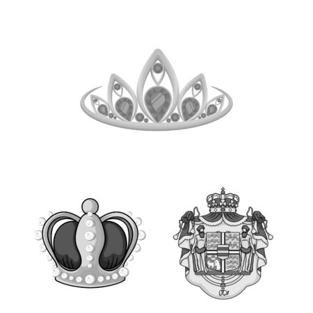 bitmap design of crown and royal icon. Collection of crown and jewelry stock symbol for web. 스톡 콘텐츠