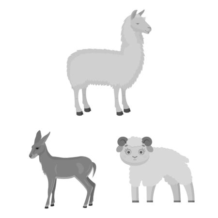 bitmap design of sheep and goat . Set of sheep and happy stock bitmap illustration.