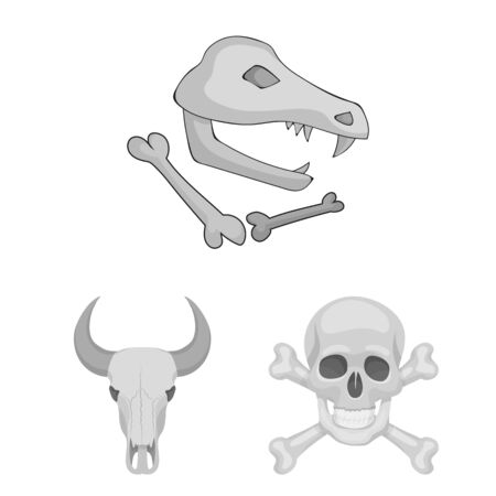 bitmap illustration of skeleton and character sign. Collection of skeleton and halloween bitmap icon for stock.