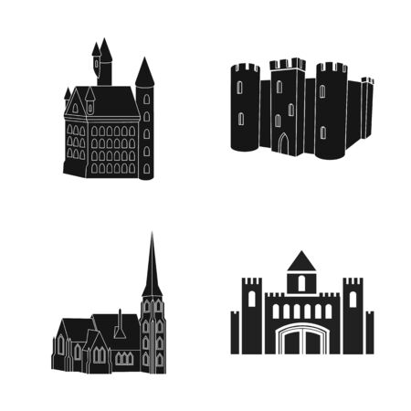 bitmap design of fairytale and medieval sign. Set of fairytale and story stock symbol for web.