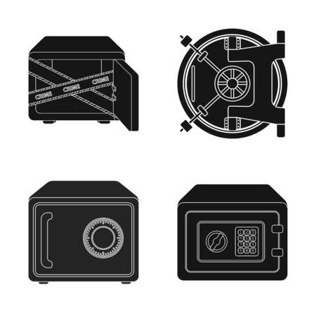 Isolated object of and safe icon. Collection of and cash stock bitmap illustration.