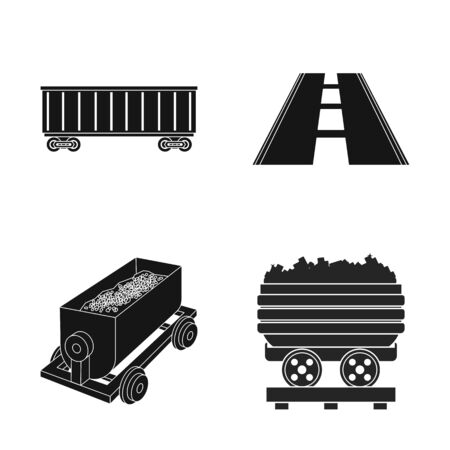 bitmap illustration of railroad and train sign. Collection of railroad and way stock symbol for web.