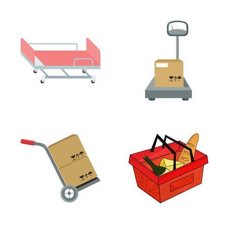 bitmap illustration of basket and wicker icon. Set of basket and market bitmap icon for stock. Stock Illustration - 129112029
