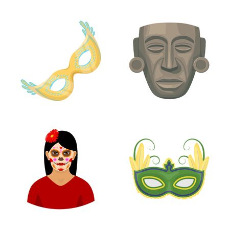 Isolated object of carnival and masquerade . Collection of carnival and mexico stock bitmap illustration.