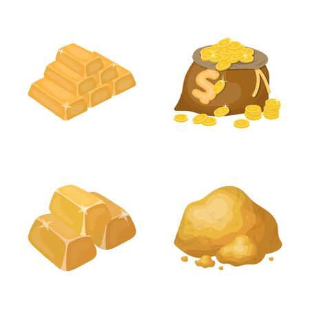 Isolated object of gold and ingot . Collection of gold and economics stock bitmap illustration.