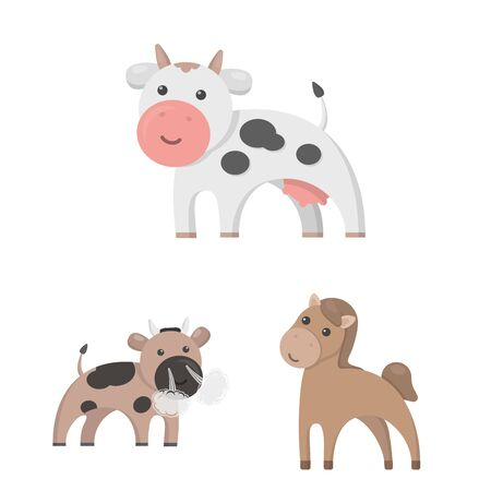 Isolated object of animal and habitat symbol. Collection of animal and farm stock bitmap illustration.
