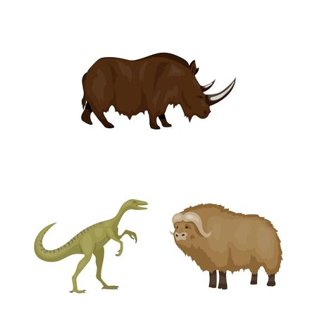 bitmap illustration of animal and character symbol. Set of animal and ancient stock bitmap illustration.