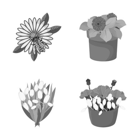 bitmap illustration of spring and wreath symbol. Set of spring and blossom stock symbol for web.