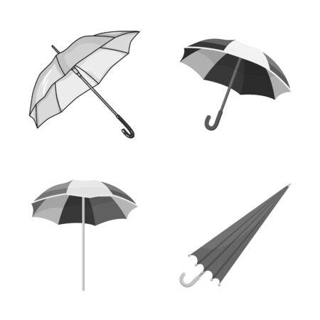 bitmap illustration of umbrella and cloud. Set of umbrella and rain stock symbol for web.