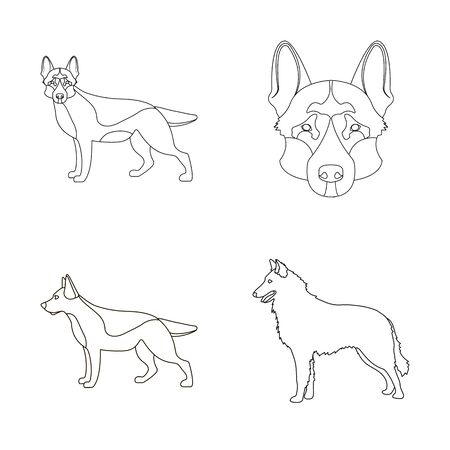 Isolated object of and sheepdog symbol. Collection of and german stock bitmap illustration. Stok Fotoğraf