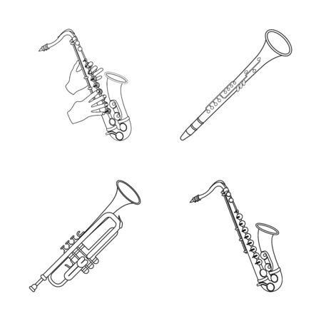 bitmap design of trumpet and brass logo. Set of trumpet and saxophone bitmap icon for stock.