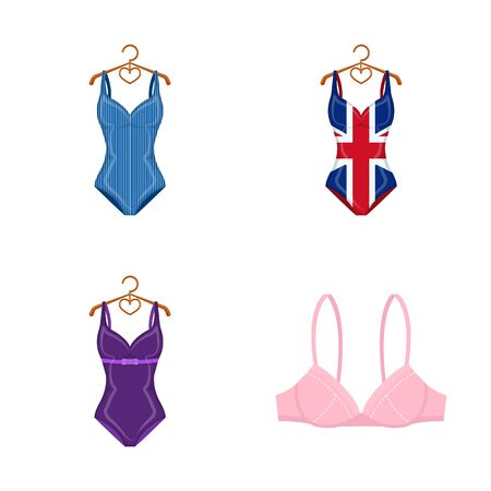 bitmap illustration of bikini and fashion icon. Set of bikini and swimsuit bitmap icon for stock.