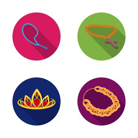 bitmap design of jewelery and necklace. Collection of jewelery and pendent bitmap icon for stock.
