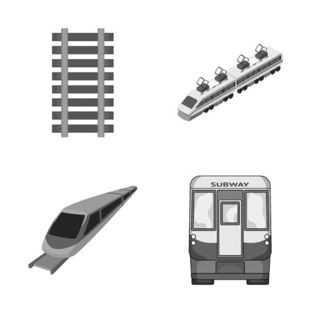 Isolated object of railroad and train sign. Set of railroad and way stock bitmap illustration.