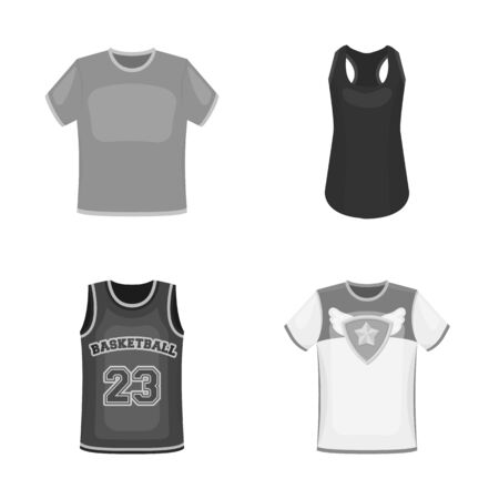 Isolated object of clothes and wear. Collection of clothes and short bitmap icon for stock.