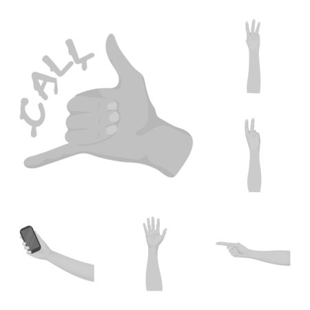 Isolated object of animated and thumb. Collection of animated and gesture stock symbol for web. Banque d'images - 129117073