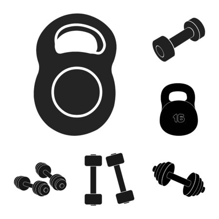 bitmap illustration of weight and lifting. Set of weight and exercise stock symbol for web.