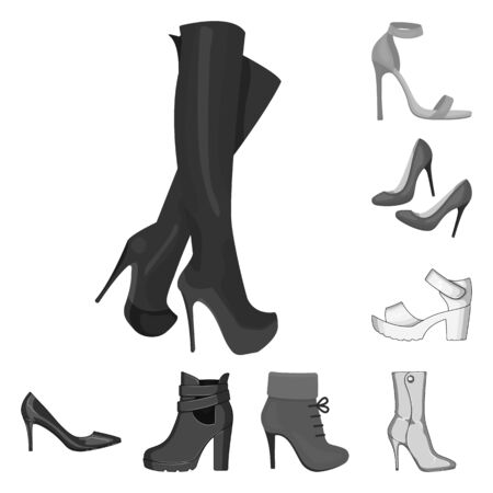 bitmap design of heel and high sign. Collection of heel and stiletto bitmap icon for stock. Banque d'images - 129117250