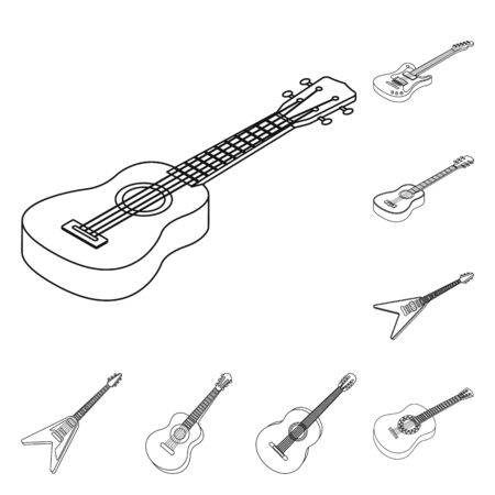 Isolated object of rock and music icon. Set of rock and instrument stock symbol for web. Banque d'images - 129117254