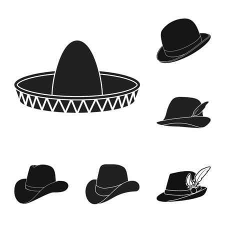 Isolated object of hat and cap icon. Set of hat and model bitmap icon for stock. Banque d'images - 129117298