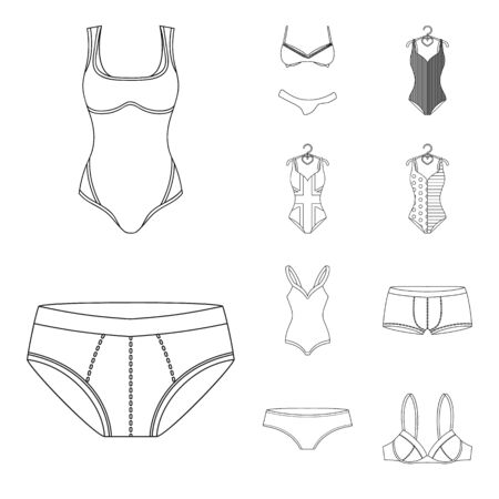 bitmap illustration of bikini and fashion symbol. Set of bikini and swimsuit stock symbol for web.