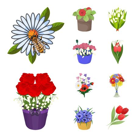 Isolated object of spring and wreath. Set of spring and blossom bitmap icon for stock.