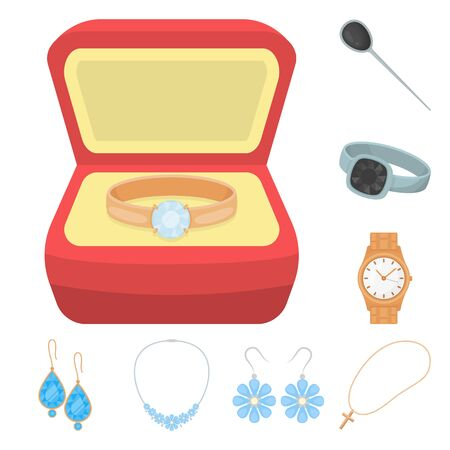 Isolated object of jewelery and necklace. Set of jewelery and pendent stock symbol for web. Standard-Bild - 129117449