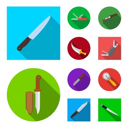 Isolated object of knife and cut icon. Set of knife and flat stock symbol for web.