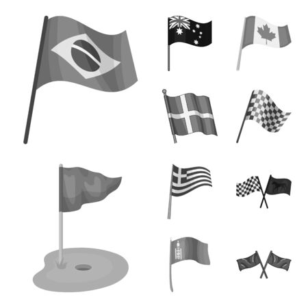 bitmap design of world and flag icon. Set of world and ribbon stock symbol for web.